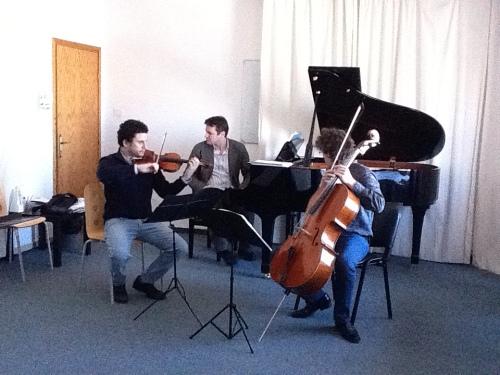 Pablo Martos, violín, Tomaso Cogato, piano, y Alberto Martos, violonchelo